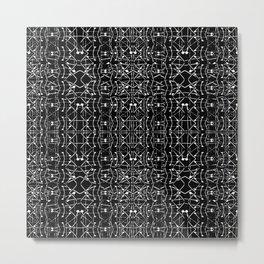 Black and White Ethnic Ornate Pattern Metal Print
