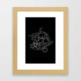 Star Girl Bike Swirl Black Framed Art Print