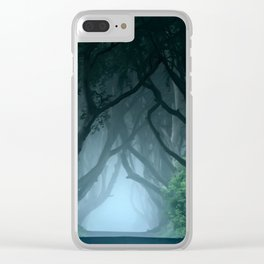 Cold foggy morning in Dark Hedges Clear iPhone Case