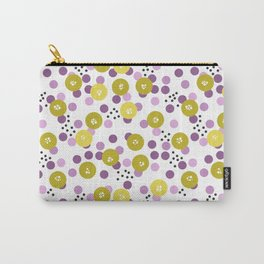 Yellow and pink polka dots on a black background . Carry-All Pouch