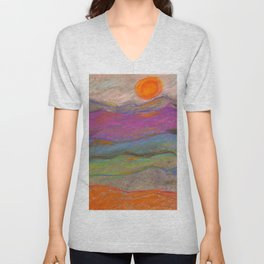 Abstract Mountain Landscape with Pastels Unisex V-Neck
