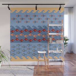 Inca Ethnic Pattern Fish and Birds Wall Mural