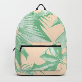 Tropical Leaves Palm Green on Citrus Backpack