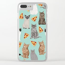 Cats pizza slices food cat lover pet gifts must have cat breeds Clear iPhone Case