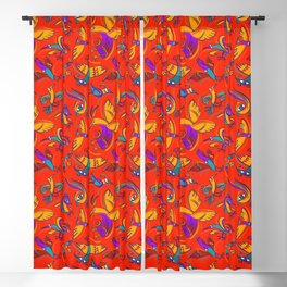 Pattern with Firebirds (on red background) Blackout Curtain