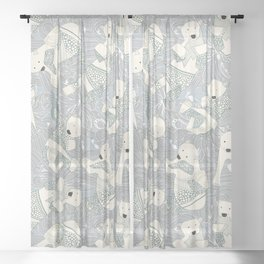 arctic polar bears silver Sheer Curtain