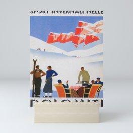 Dolomites Italy Vintage Ski Poster Mini Art Print