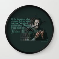valar morghulis Wall Clocks featuring Arya Stark, Valar Morghulis by Your Friend Elle