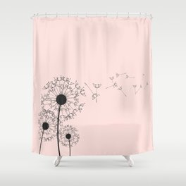 Contemporary Pink Dandelion Drawing Shower Curtain