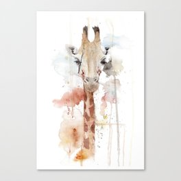 """Watercolor Painting of Picture """"Portrait of a Giraffe"""" Canvas Print"""