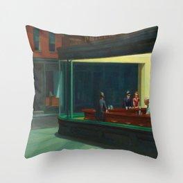 Edward Hopper's Nighthawks Throw Pillow