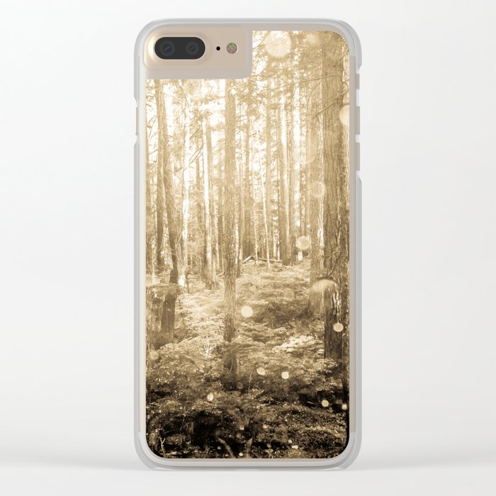 Vintage Sepia Fairy Forest Clear iPhone Case
