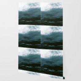 WHITE & BLUE & BLACK TOUCHING #1 #abstract #decor #art #society6 Wallpaper