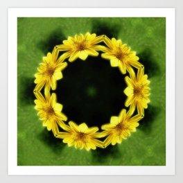 Large Yellow Wildflower Kaleidoscope Art 3 Art Print