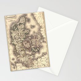 Map Of Denmark 1819 Stationery Cards
