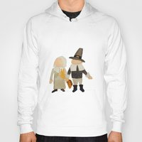 toddler Hoodies featuring Thanksgiving Pilgrim Toddler Girl and Boy Couple by PodArtist