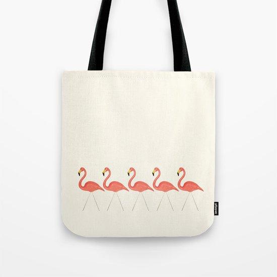 Flamingo Lineup Tote Bag
