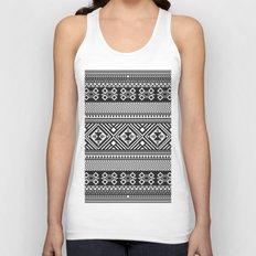Monochrome Aztec inspired geometric pattern Unisex Tank Top