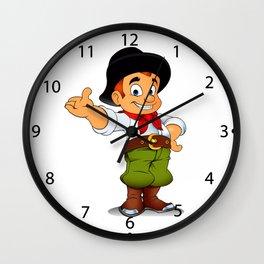 Gaucho cowboy cartoon Wall Clock