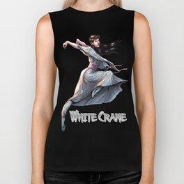 White Crane Comic Kung Fu Girl tshirt cute martial arts gift Biker Tank