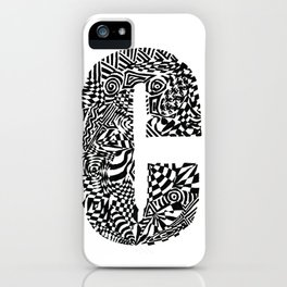 Alphabet Letter C Impact Bold Abstract Pattern (ink drawing) iPhone Case