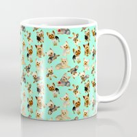 yorkie Mugs featuring Yorkie Pattern by Bark Point Studio