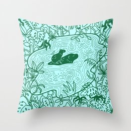 Capybara Jungle Throw Pillow