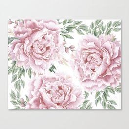 Pretty Pink Roses Floral Garden Canvas Print