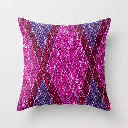 Pink Magenta Purpel Sequin Designs Throw Pillow
