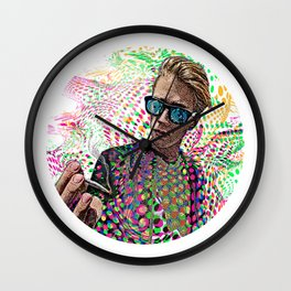 Man Smoking Pot and Getting High Wall Clock