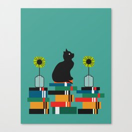 Cat, books and flowers Canvas Print