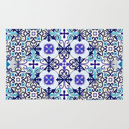 Turquoise Moroccan tile seamless pattern Rug