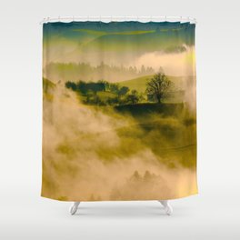 Foggy Parallax Hills With Trees Shower Curtain