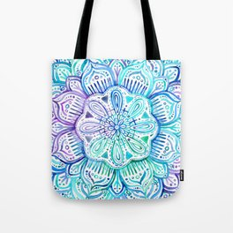 Iridescent Aqua and Purple Watercolor Mandala Tote Bag