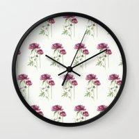 peony Wall Clocks featuring peony by Dao Linh