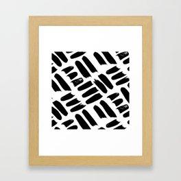 Black + White Brushwork Framed Art Print