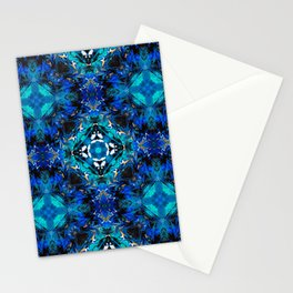 Ripples (Blue, White, Black & Gold Acrylic - 45° Kaleidoscope Pattern Small) Stationery Cards