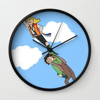 grantaire Wall Clocks featuring Enjolras and Grantaire by Miki Price