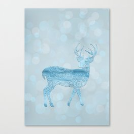 Aqua Blue Christmas Deer Canvas Print