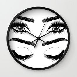 Eyes with long eyelashes and brows Wall Clock
