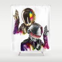 daft punk Shower Curtains featuring Daft punk  by beart24