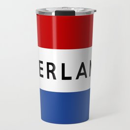 netherlands dutch country flag nederland name text Travel Mug