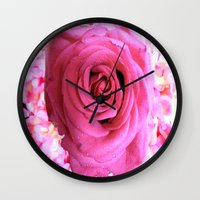 shabby chic Wall Clocks featuring Shabby Chic Pink Rose by Saundra Myles