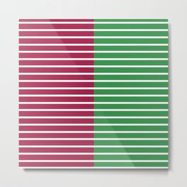 Christmas Stripes Red Green Metal Print
