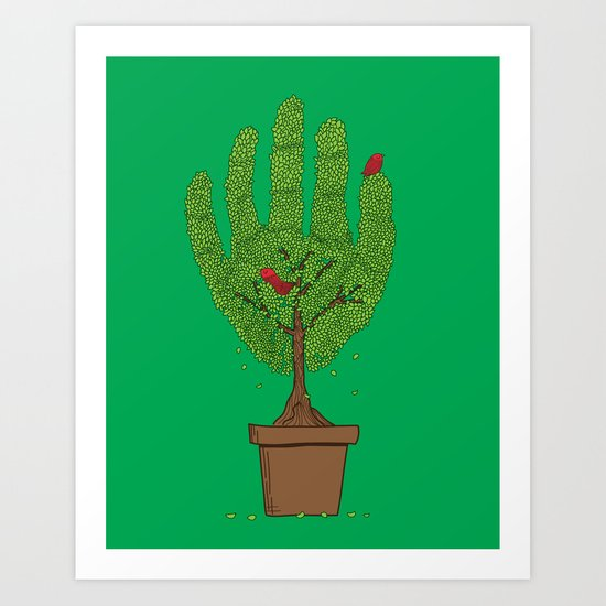 A bird in hand Art Print