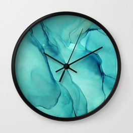 Turquoise Ink Waves Abstract Alcohol Ink Wall Clock