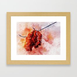 Frosted Beech Leaves on a branch - watercolor Framed Art Print