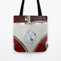 volkswagen Tote Bags featuring Samba microbus hippiebus Volkswagen by Premium