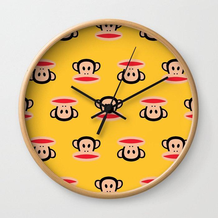 Julius Monkey Pattern by Paul Frank - Yellow Wall Clock