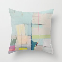 """""""over flow"""" abstract painting in robin's egg, mint, blush, white, and yellow Throw Pillow"""